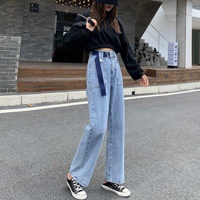 Autumn and Winter High Waist Jeans Women's Loose Wide Leg Pants All-Matching Slim-Fit Pants Women's