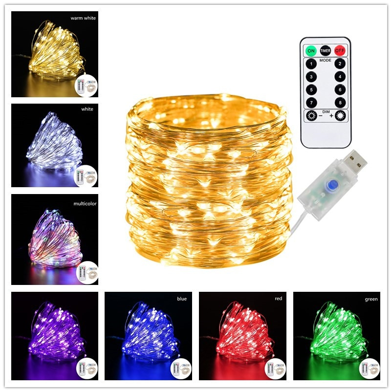 Fairy Lights Usb Powered 20m/10m String Remote Control 8 Modes Christmas Decorations for Tree Garland  Led
