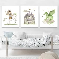 cartoon soldier horse castle dragon war sword wall art canvas painting nordic posters and prints wall pictures kids room decor