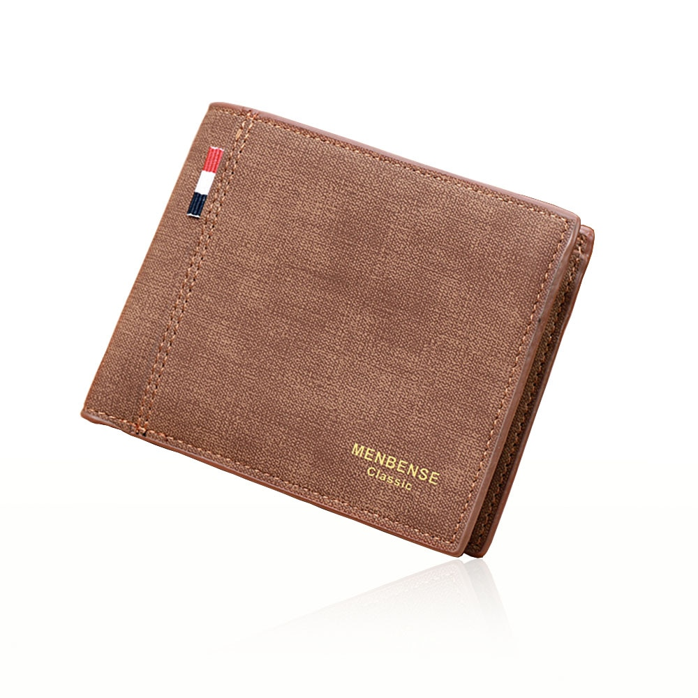 Classical Men Short Fold Wallet High Quality PU Leather Male Wallets Card Holder Business Passport C