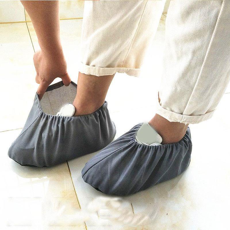 Capa de Sapato Reutilizável em Casa Estudantes da Família Engrossar Elástico Indoor Antiderrapante Overshoes Convidados Não-tecido Cor Sólida Pés Cobrir 1 Par