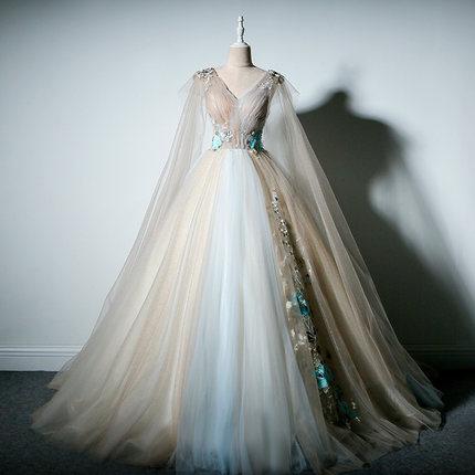 فستان كرة فاخر من القرون الوسطى ، أكتاف عارية ، مطرز ، مع وشاح ، من أجل عصر النهضة ، الملكة الفيكتورية ، الجمال ، 100%