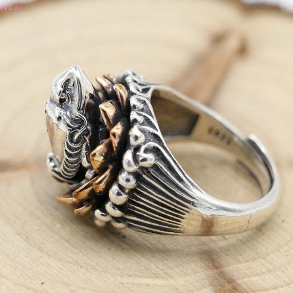 Joyería de plata de ley 925, anillo de personalidad de loto, anillo de ajuste de apertura de sapo masculino, anillos de plata tailandeses