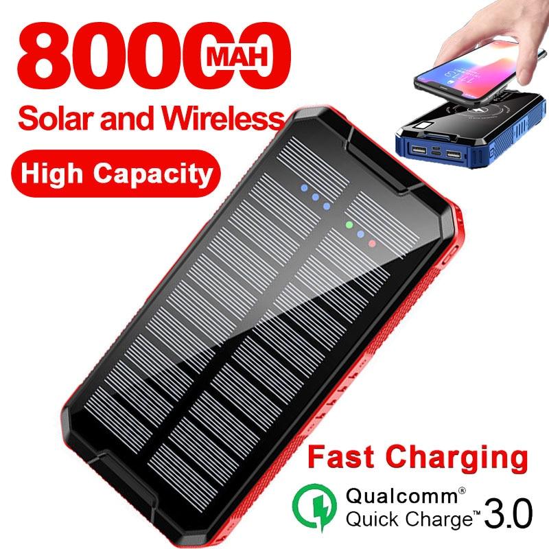 80000mah banco de energia sem fio solar carregador externo portátil carregamento rápido led bateria externa para iphone xiaomi samsung