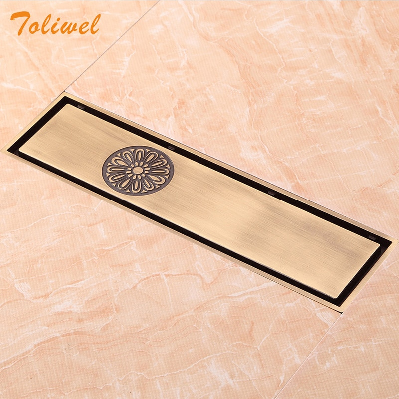 Free Shipping Antique Brass 8 x 30cm Bathroom Linear Shower Floor Drain Wire Strainer Waste Drainer Flower Carved Heavy SEH029