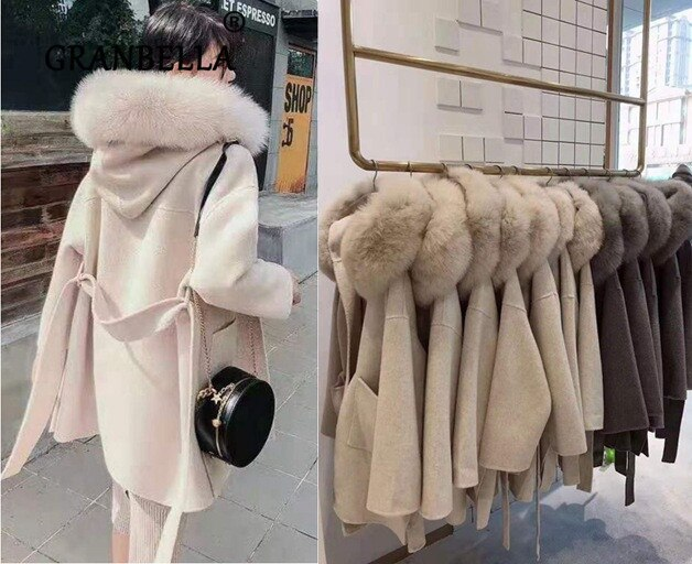 Hot sale Ladies Brand Famous Luxury Hooded Cashmere Coat Outwear Natural  Fox Fur Collar  Women's  Lamb Wool  coats