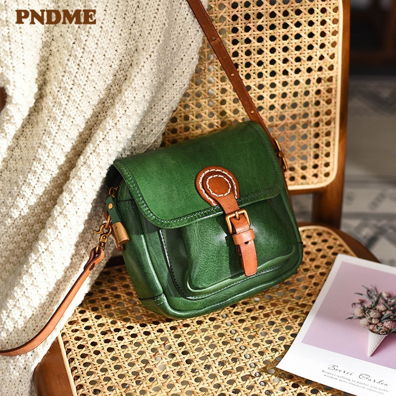 PNDME fashion luxury genuine leather mini women's small satchel for ladies daily weekend party natural real cowhide shoulder bag