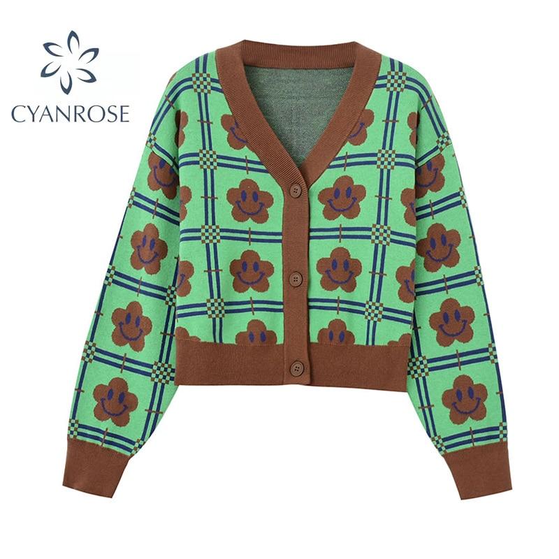 سترة نسائية على الموضة سترة مطبوعة فضفاضة متماسكة معطف 2021 جديد الخريف الربيع سيدة عادية كم طويل VNeck الأخضر زهرة ملابس خارجية