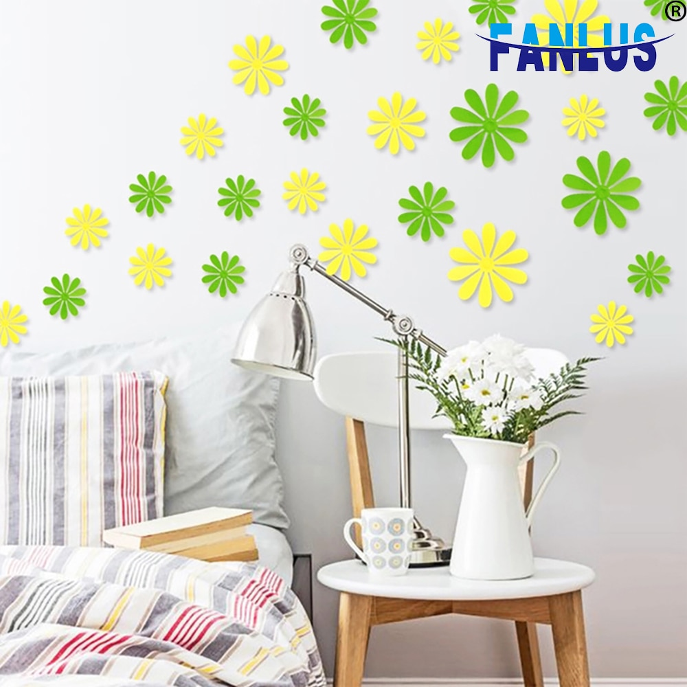 12 unids/lote de flores adhesivas para pared para decoración del hogar suministros de fiesta de cumpleaños decoraciones pegatinas en interruptores Niño
