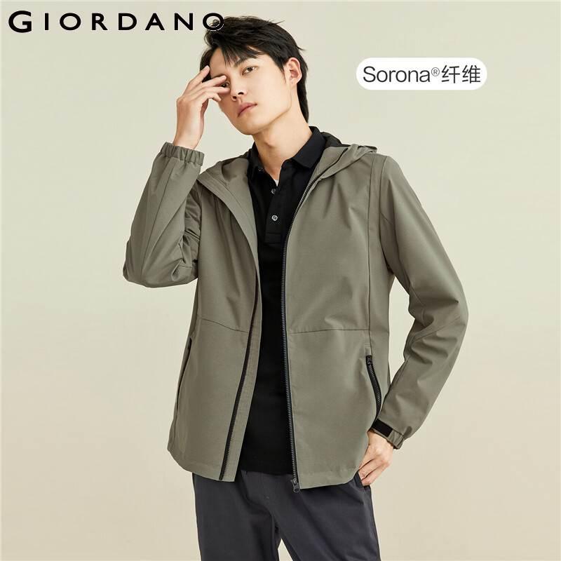 Giordano мужские куртки Sorona стрейч сетка подкладка капюшон куртки на молнии спереди косые карманы с капюшоном ветрозащитные куртки 0107107