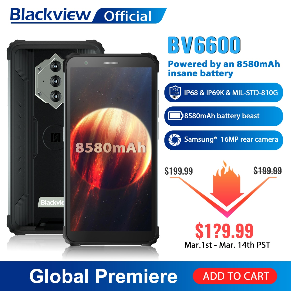 Перейти на Алиэкспресс и купить Blackview BV6600 IP68 Водонепроницаемый 8580 мА/ч, прочный смартфон, четыре ядра, 4 Гб + 64 Гб 5,7 дюймFHD мобильный телефон 16MP Камера NFC Android 10