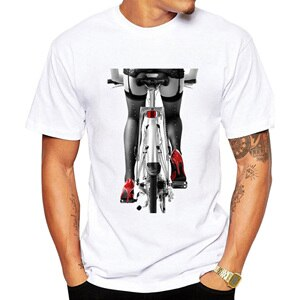 Sexy woman in red high heel shoes and stockings riding bicycle art photo T-Shirt Fashion Boy Casual Fitness Cool Men's T Shirt