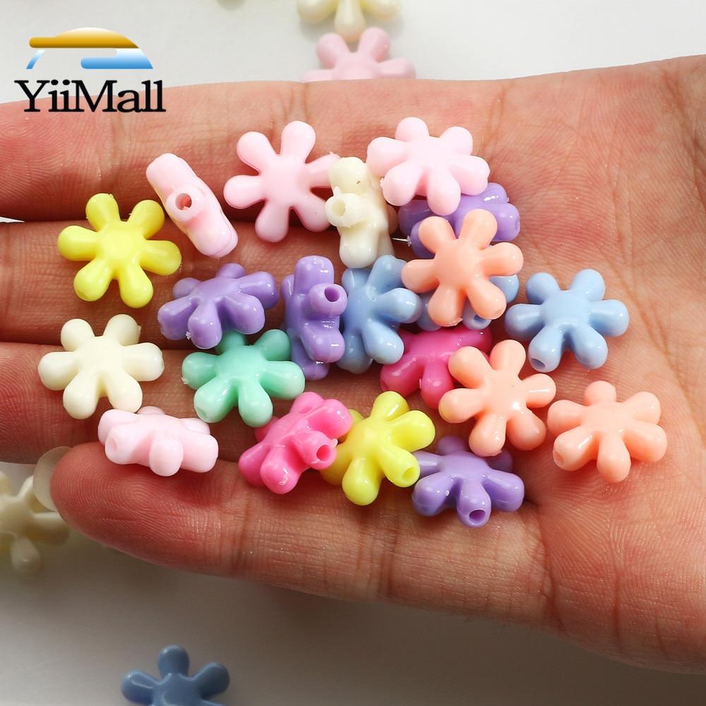 50 pces 13mm misturados doces cor floco de neve acrílico grânulos para fazer jóias acessórios artesanal diy childen pulseira colar