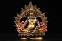 7tibet temple collection old bronze painted huang caishen yellow god of wealth buddha statue back light sitting buddha ornament