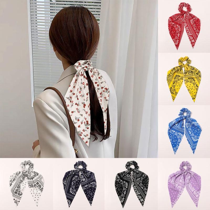 Women Cashew Flowers Tie-dye Hair Tie Floral Print Scrunchies Long Ribbon Elastic Hair Bands Ponytail Holder Hair Accessories