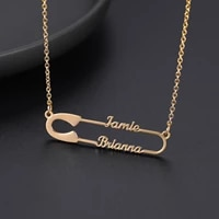 sherman collares pareja personality double name necklace band clip pin pendant stainless steel female nameplate jewelry