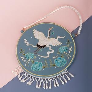 Angelatracy Hanfu Chinese Swan Blue Bird Embroidery Pearl Chain Tassel Mouse Crane Tote Circular Bag Shoulder Circular Bags