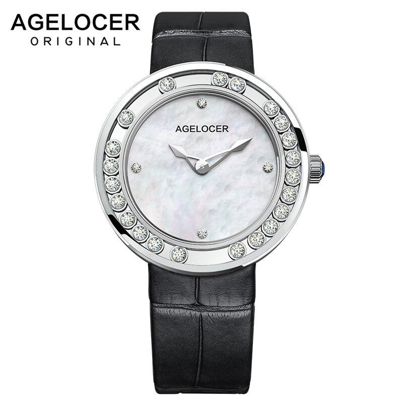 Luxo à Prova Relógio de Quartzo Relógio de Presente Agelocer Moda Feminina Relógios Senhoras Marca Superior D3água Feminino 316l Aço Inoxidável