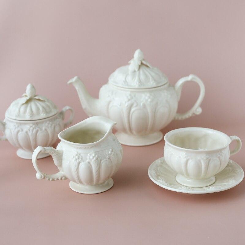 إبريق الشاي الأوروبي الرجعية ، نمط أوراق التوت ، زهرة ثلاثية الأبعاد ، كوب القهوة ، وعاء سكر الحليب