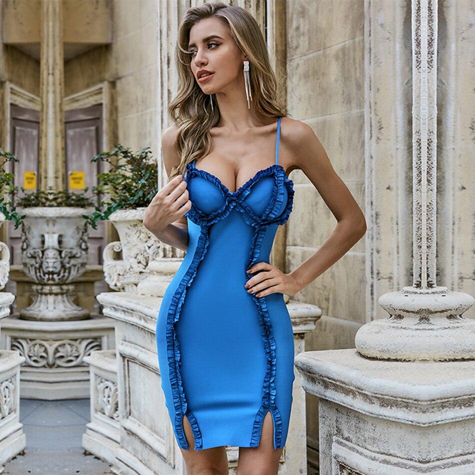 ADYCE-vestido Bandage para señora, nuevo vestido veraniego azul con volantes, sexi, tirantes finos, sin mangas, ceñido al cuerpo, para fiesta de la pasarela