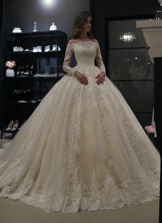 luxury long tail satin red bling ball gown wedding dresses newest sexy designer bridal wedding gowns with sleeves Gorgeous Ball Gown Princess Wedding Dresses 2019 Long Sleeves Lace Bridal Gowns Robe de M ariee