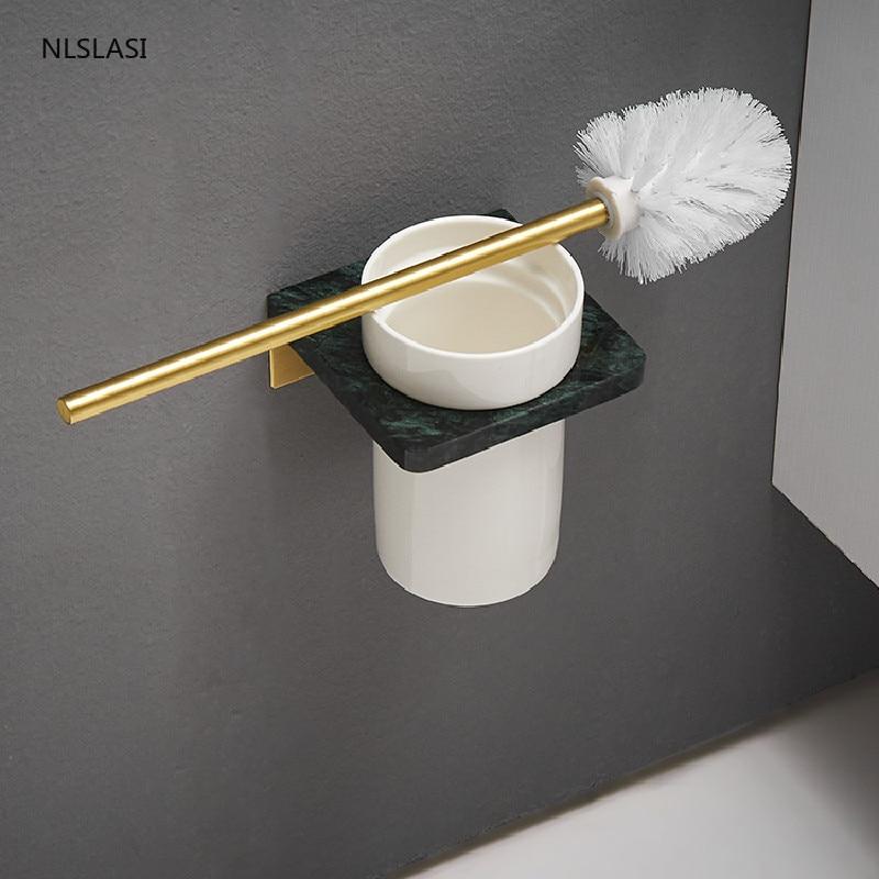 حامل فرشاة المرحاض بنمط رخامي ، كوب شفط مثبت على الحائط ، ملحقات حمام منزلية ، حامل تنظيف مع كوب سيراميك
