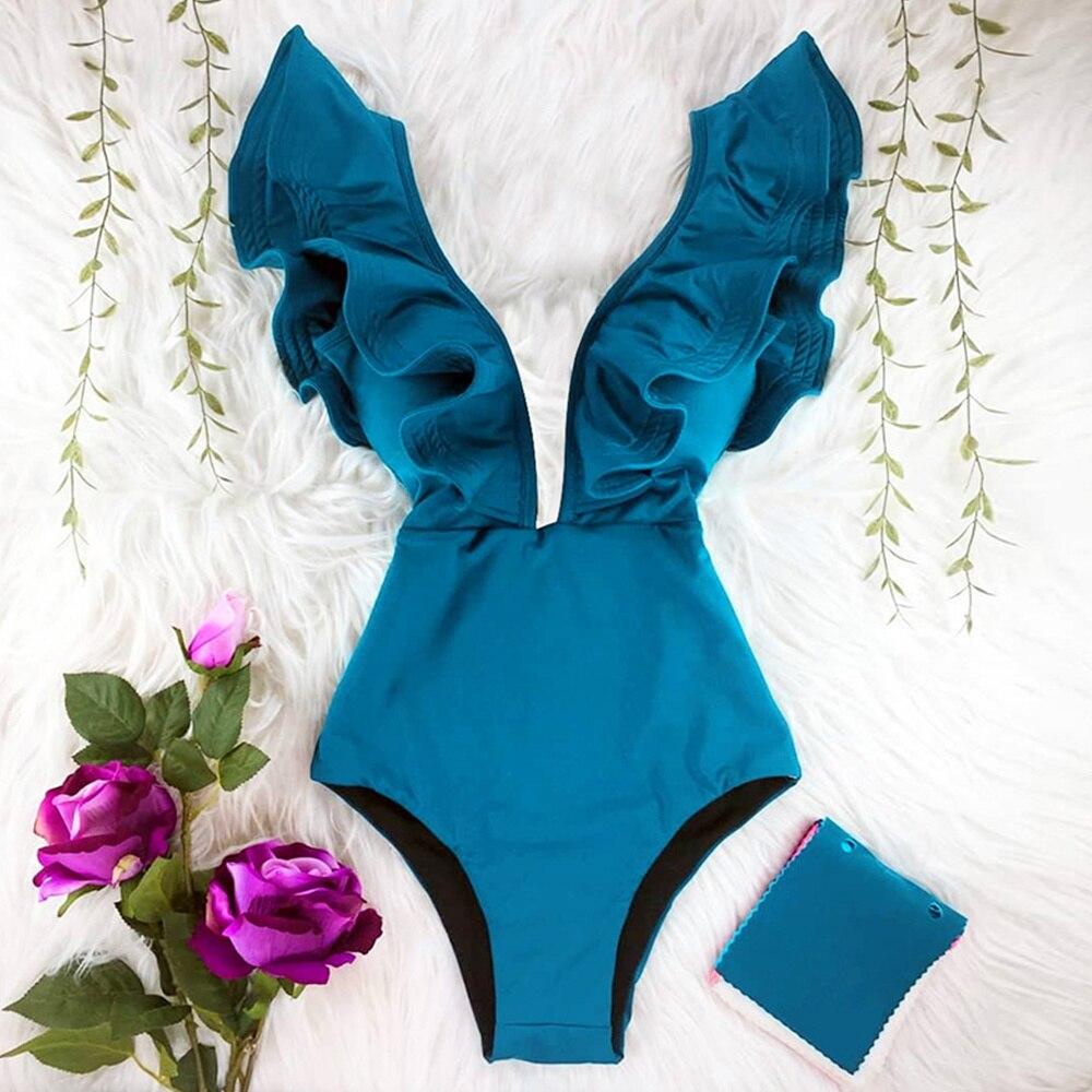 2021 New Print Swimwear Deep V-neck Ruffle Swimsuit Push Up One Piece Swimsuit Beach Wear Backless Monokini