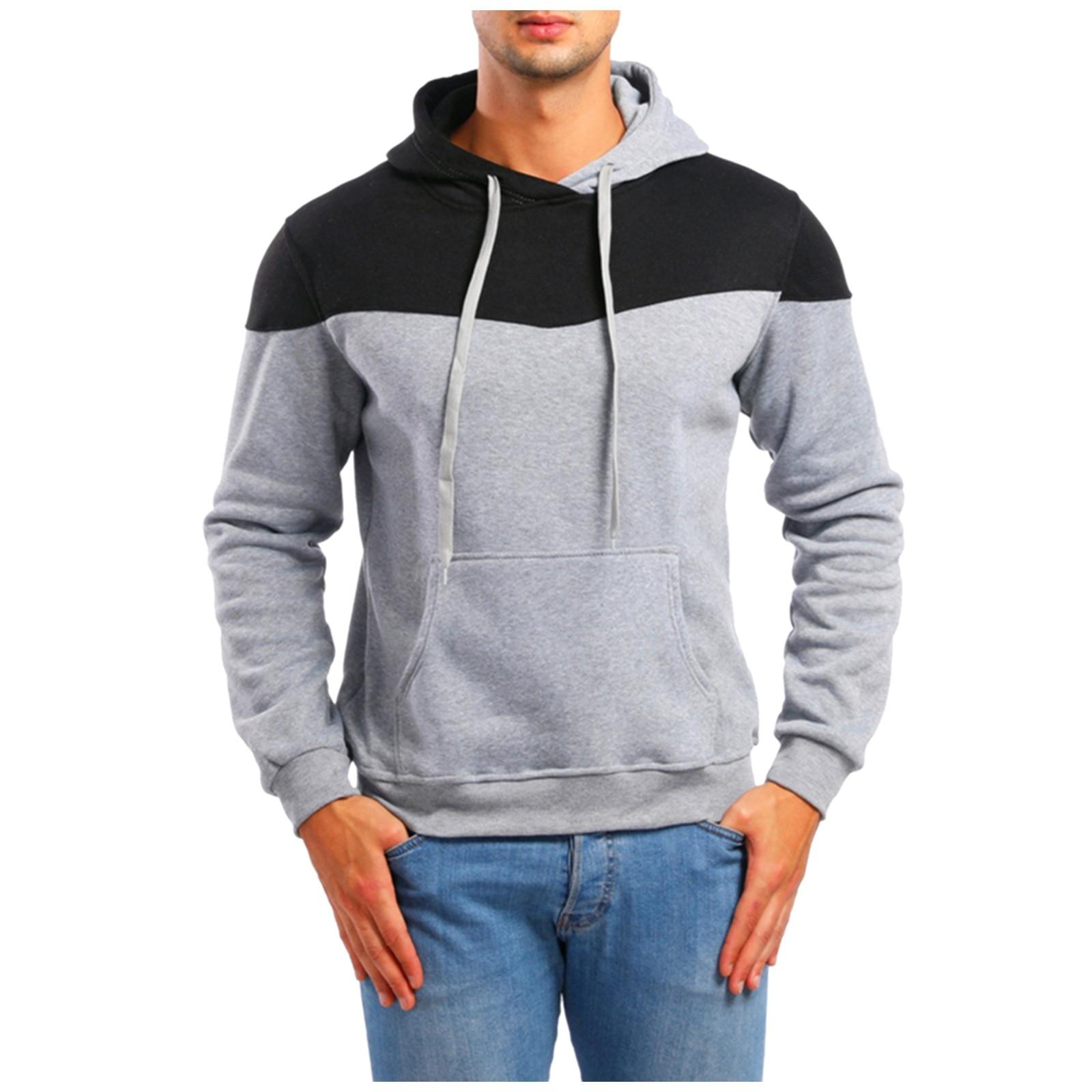 color block chest pocket dip hem tee Men's Casual Color Block Top Men's Hooded Pullover Sweatshirt With Pocket