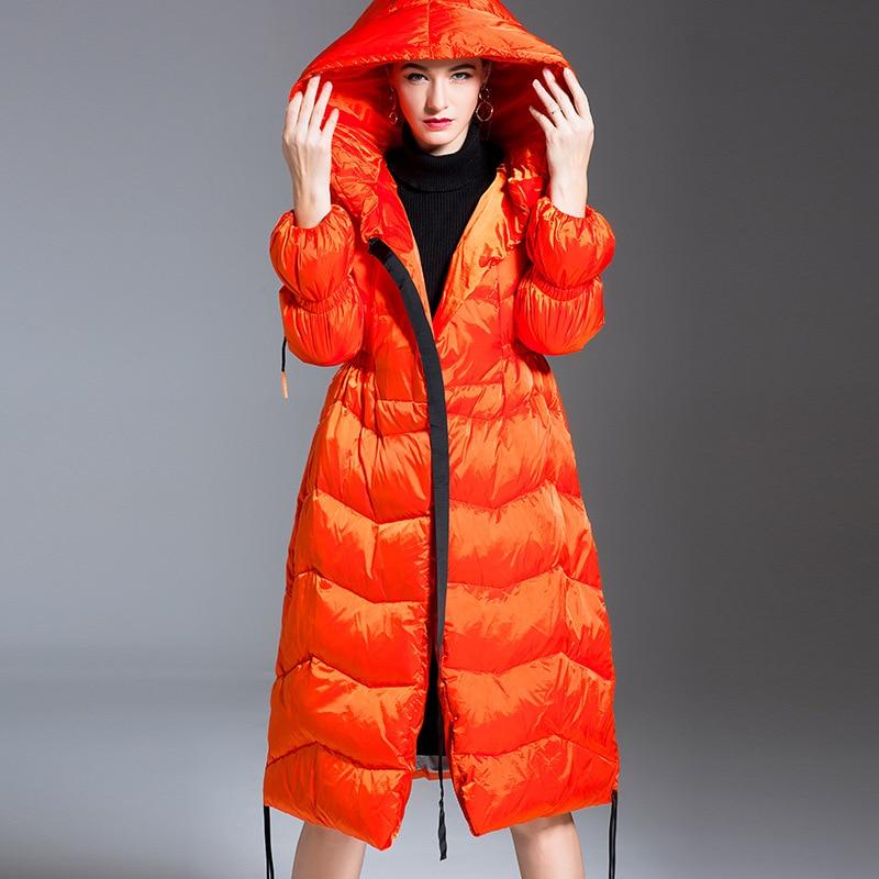 Women down coats luxury autumn winter warm fashion 90% white duck down Jackets Female lady long puffer hooded casual orange
