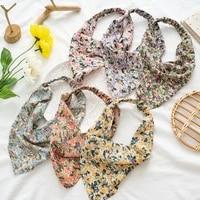 elastic hair bands bandanas diy hair styling headwear floral print scrunchies triangle hair scarf headband with clips headdress