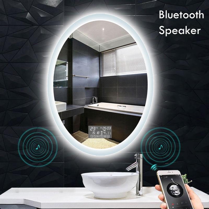 شكل بيضاوي ذكي ماكياج مرآة حمام 3 لون قابل للتعديل مصباح ليد متعدد الوظائف مع سمّاعات بلوتوث لتزيين غرفة النوم