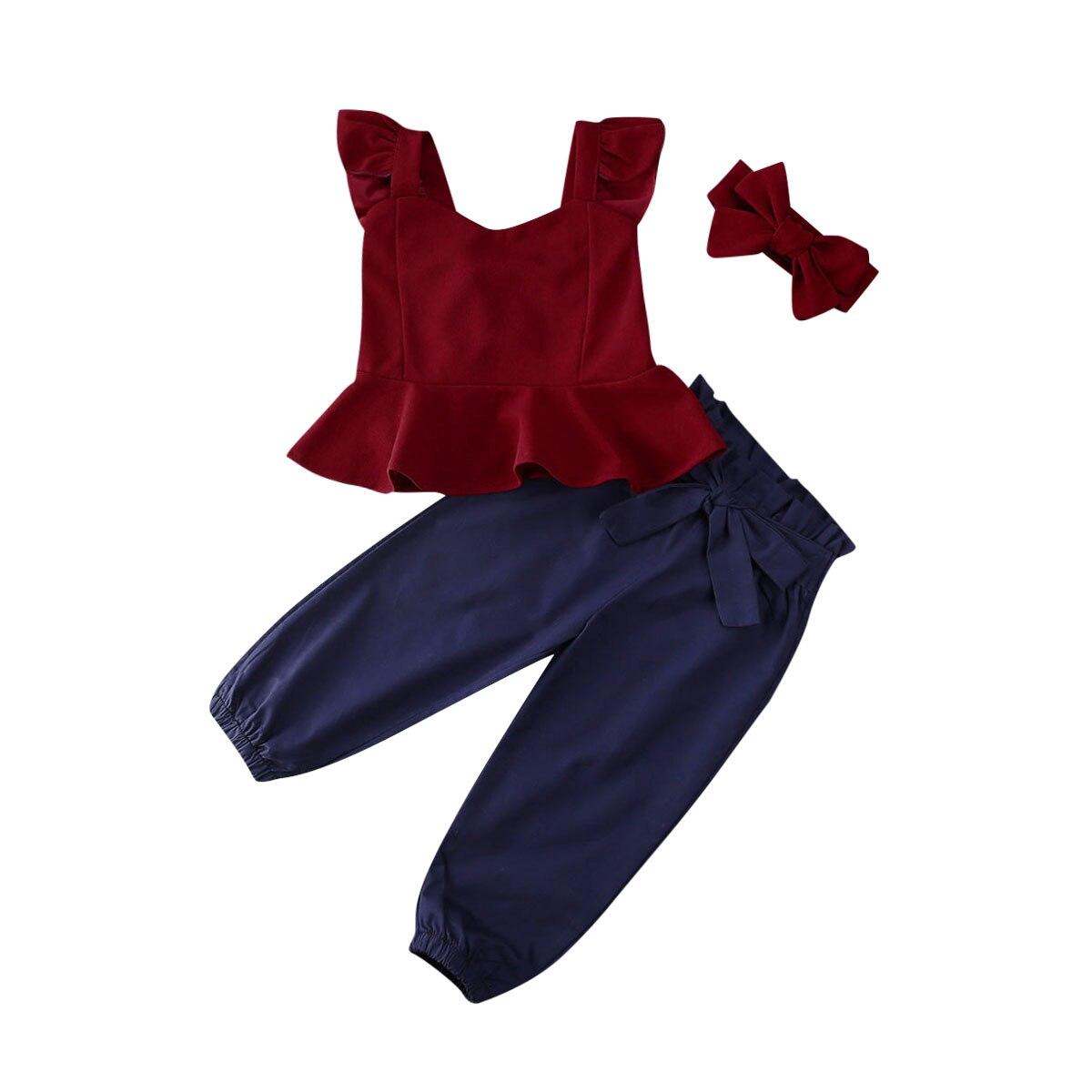 New 3Pcs Toddler Baby Girl Sling Tops Long Pants Headband Outfit Clothes Summer 1-6yrs