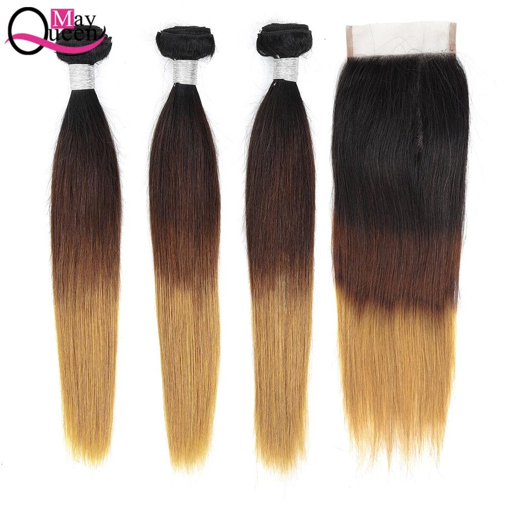 Tissage en lot brésilien Remy naturel avec Closure ombré-May Queen, cheveux soyeux, 1b 4 27, lot de 3