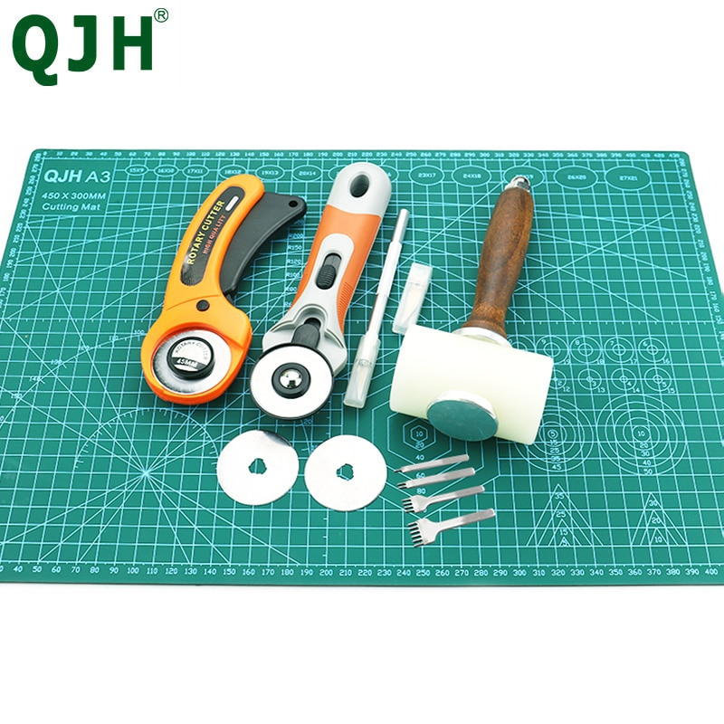 aliexpress - Professional Self-Healing, Double-Sided PVC Cutting Mat, Rotary Blade Compatible, Hammer,Hole Punches Leather Tool Set Sewing
