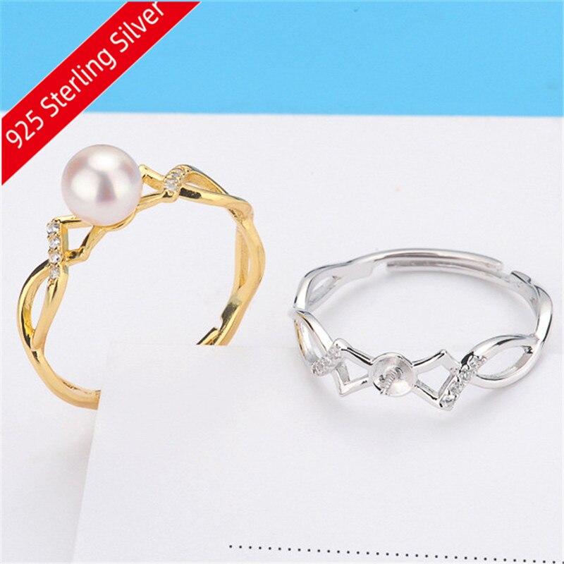 Nuevo listado 925 Flor de plata de ley anillo de perlas redondo soporte vacío alergia hace DIY piezas de accesorios de joyería hipoalergénico