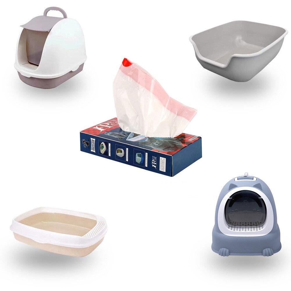 Caja de arena para gatos, bolsa con cordón, artefacto de limpieza para mascotas, herramientas de arena, bolsas de plástico extraíbles, 10 Uds por servicio, grande, grueso, fácil de limpiar