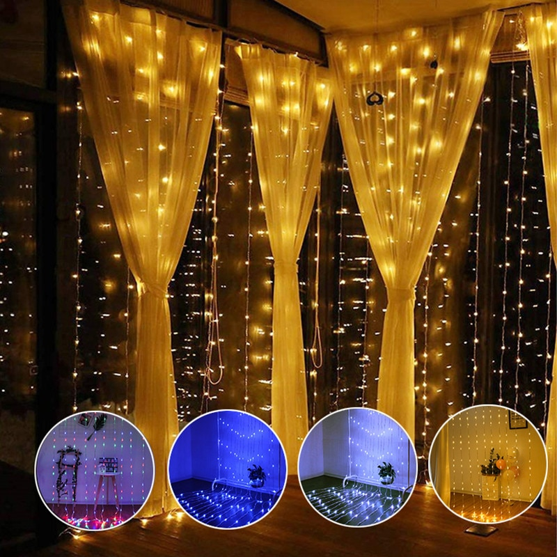 Christmas Garland Curtain String Lights Outdoor Waterproof Garland Waterfall Steam Led Lights For Pa