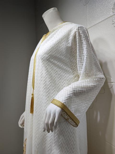 Middle East Muslim Islamic Eid Al-Adha Festival Gurban Gold Embroidered Hooded Net Yarn Big Tunic Dubai Arab Women's Clothing 10