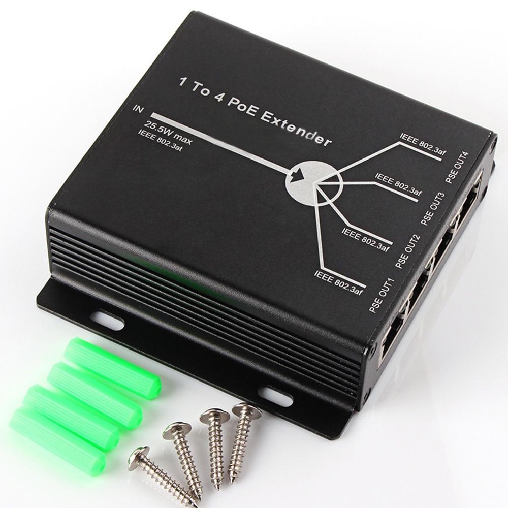 CCTV POE 4-Ports Extender IEEE802.3af Network 1 Input 4 Output Camera Extend 120m Transmission Distance With 10/100M LAN Ports enlarge