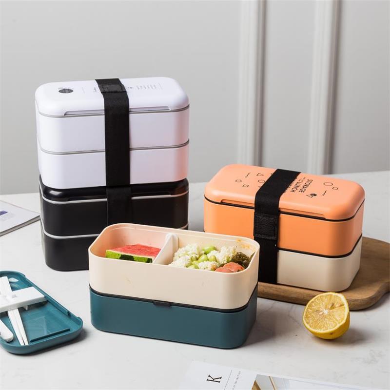 Caja Bento portátil de 2 capas de 1000ml, contenedor de alimentos de plástico a prueba de fugas, caja de almuerzo térmica, caja de almacenamiento de alimentos para microondas con cucharas