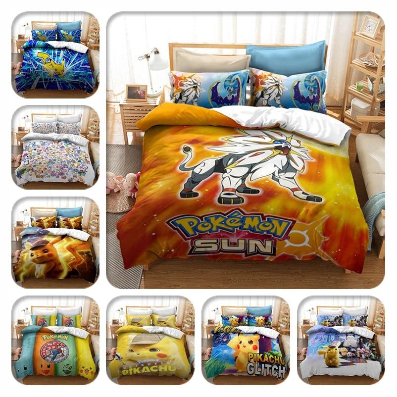 Textiles para el hogar, juego de cama 3d de Pokemon, Solgaleo Pikachu, juegos de fundas de edredón estampados, ropa de cama doble completa de cama King, ropa de cama