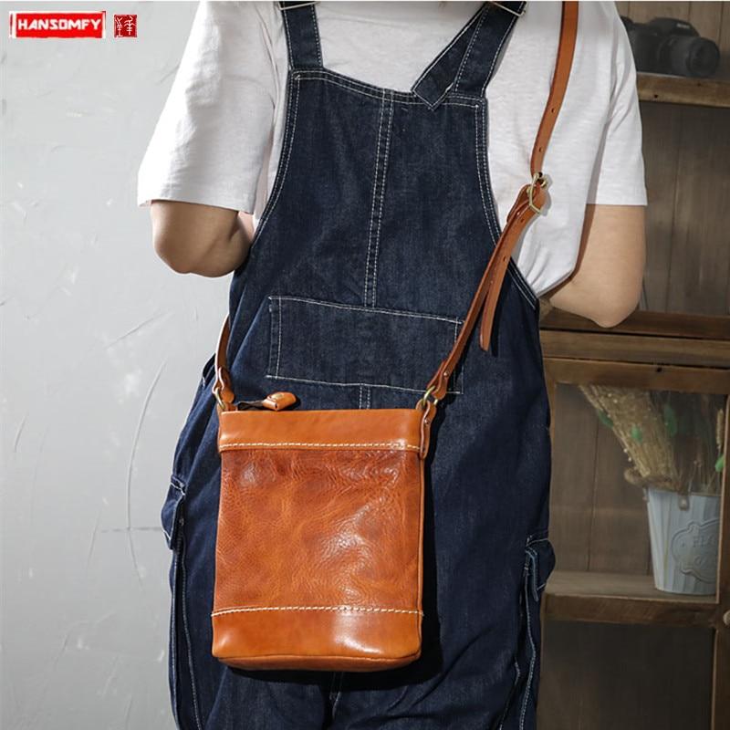 Messenger Bag Women Shoulder Bag Retro Distressed Wild Small Shoulder Bags Female Phone Bags 2020 Original Hand Stitched Leather
