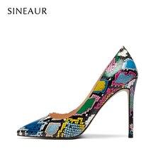 SINEAUR  Women Shoes Snake Animal Prints Thin Heel 10cm 12cm Super High Heels Sexy Fashion Pointed T