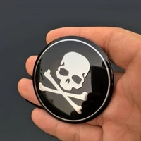 4 pcs black car stickers styling wheel emblem hub center caps cross sticker and decals funny bone skull logo car accessories