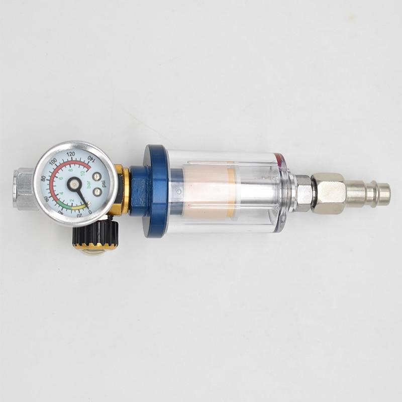 air pressure regulator gauge spray gun in line water oil trap filter separator kit tools Scratch Spray Gun Air Regulator Gauge & In-line Water Trap Filter Tool spray gun regulator and Mini spray gun Air Filter