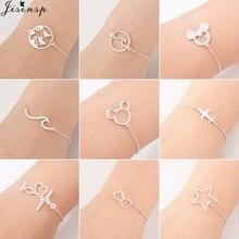 Jisensp Stainless Steel Animal Mickey Bracelets for Women Everyday Jewelry Simple Airplane Adjustable Charm Bracelet Femme Gift