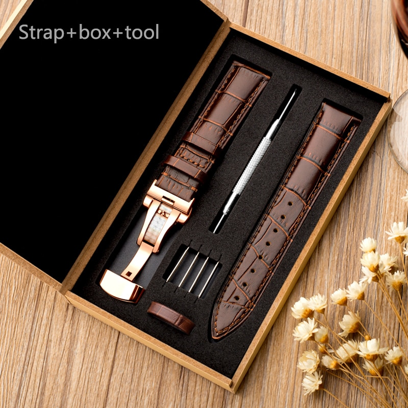 Correa de cuero genuino para reloj Tissot Seiko, correa de reloj de 18/20/22mm para Samsung Gear S3/Galaxy 46mm 42mm active/Huawei GT/2/2e