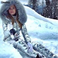 Umeko Fashion Winter Hooded Jumpsuits Parka Katoen Gewatteerde Warme Sjerpen Skipak Rechte Rits Een Stuk Vrouwen Casual Trainingspakken