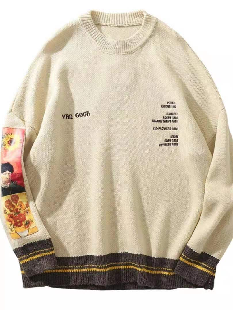 GONTHWID Van Gogh Sleeve Patchwork Pullover Knit Sweater  Mens Hip Hop Embroidery Crewneck Knitwear Sweaters Streetwear Tops