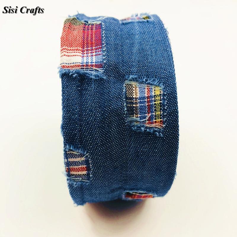 Sisi лента для поделок, синие джинсы, лента, полые формы, разорванные, в клетку, Riband, с косой отделкой, многослойные, сделай сам, волосы, галстук-бабочка, воротник, материал 1 м